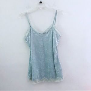Icy blue crushed velvet long camisole top